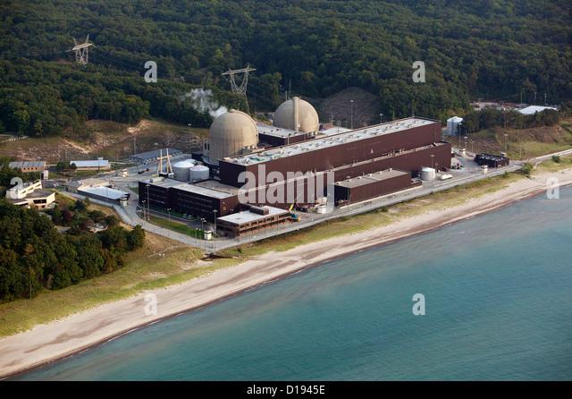 Luftaufnahme von Donald C Cook nuklearen generieren Station Bridgeman Michigan Stockbild