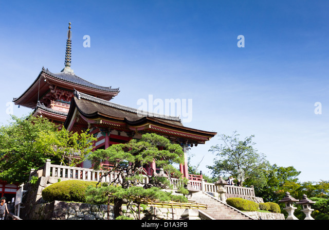 KYOTO, JAPAN traditionelle Architektur, Kiyomizu-Dera Tempel. Stockbild