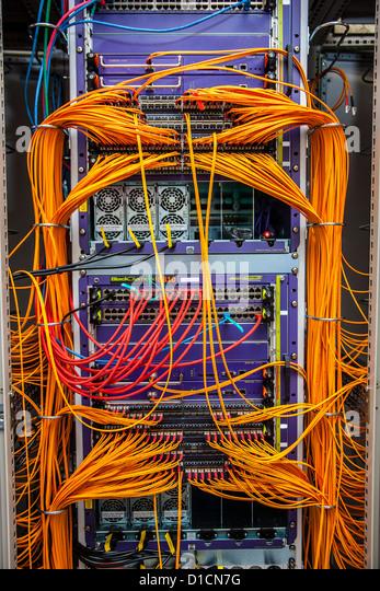 Computer-Netzwerk, Server, Kabel, Anschlüsse, LAN. Stockbild