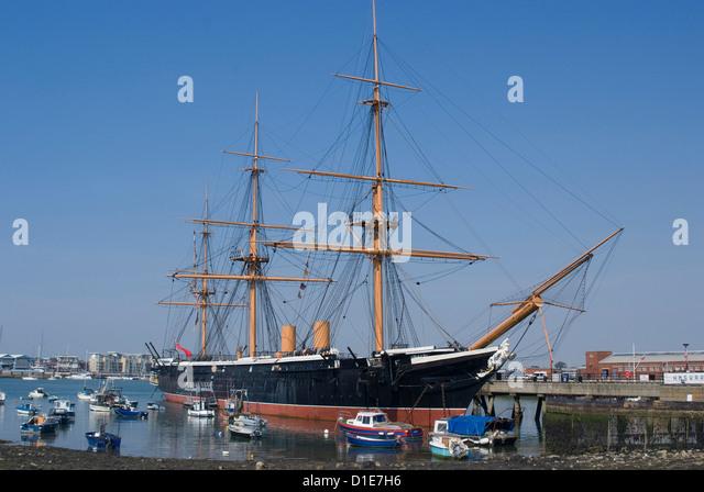 HMS Warrior, gebaut für die Royal Navy im Jahre 1860, historischen Docks Portsmouth, Portsmouth, Hampshire, Stockbild