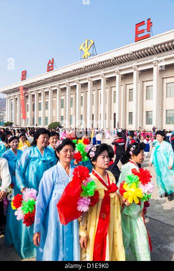 Feierlichkeiten zum 100. Jahrestag der Geburt von Präsident Kim Il Sung am 15. April 2012, Pyongshong, Nordkorea Stockbild