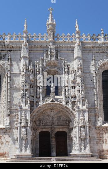 Südportal des manuelinischen Heironymites Klosters, durch Joao de Castilho, Belem, Lissabon, Portugal, Europa Stockbild