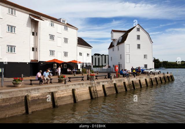 Kai und die Flut Mühle lebende Museum an der Woodbridge Riverside, Woodbridge, Suffolk, England, Vereinigtes Stockbild