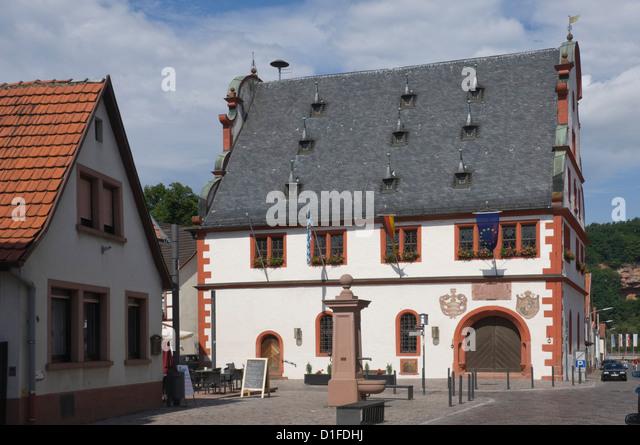 Die historischen 16. Jahrhundert Rathaus in Burgstadt, bin Michelstadt Main, Bayern, Deutschland, Europa Stockbild