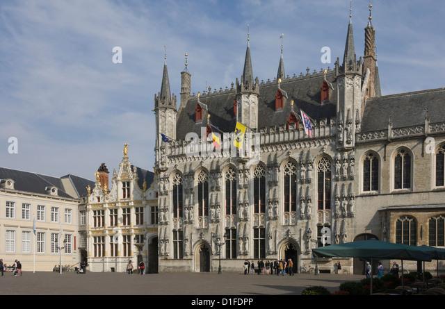 Das Stadhuis (Rathaus) in der Burg Quadrat, Brugge, UNESCO-Weltkulturerbe, Belgien, Europa Stockbild