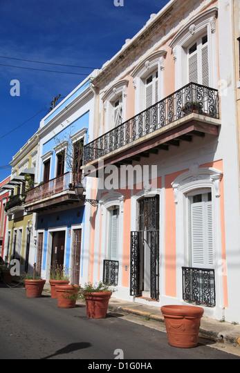 Koloniale Architektur, Old San Juan, San Juan, Puerto Rico, West Indies, Karibik, Vereinigte Staaten von Amerika, Stockbild