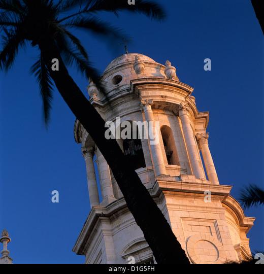 Detail der Turm von Catedral Nueva Cádiz, Andalusien, Spanien, Europa Stockbild