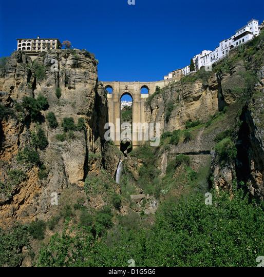 Altstadt und Puente Nuevo, Ronda, Andalusien, Spanien, Europa Stockbild