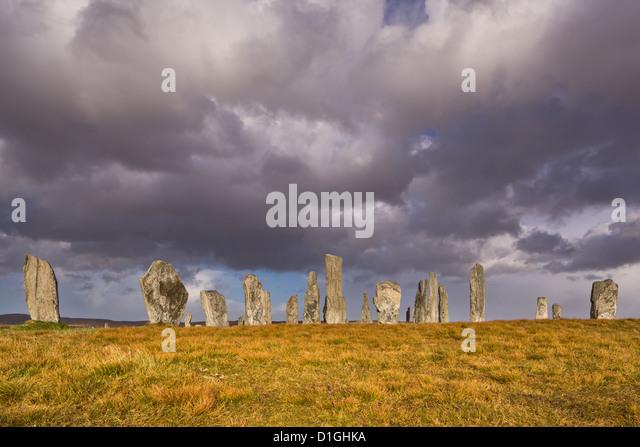 Regnerisch Wetter bei Callanish Stone Circle, Isle of Lewis, äußeren Hebriden, Schottland, Vereinigtes Stockbild