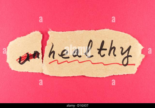 Ändern Sie ungesunde Wort zu und ändern Sie auf gesunde Stockbild