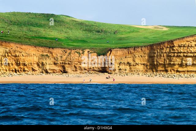 Das sechste Loch in Bridport und West Dorset Golf Club, East Cliff, West Bay, Bridport, Jurassic Coast, Dorset, Stockbild