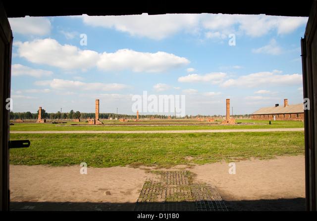 Blick über das ehemalige Konzentrationslager von Auschwitz II-Birkenau in Südpolen. Stockbild