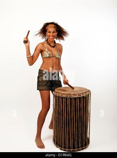 Festival-Schlagzeuger, afrikanische Doum Doum Trommel Stockbild