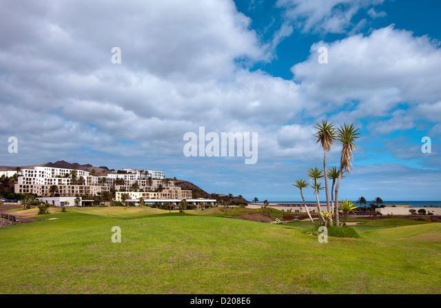 Golfplatz, sport Hotel Playitas, Las Playitas, Fuerteventura, Kanarische Inseln, Spanien Stockbild
