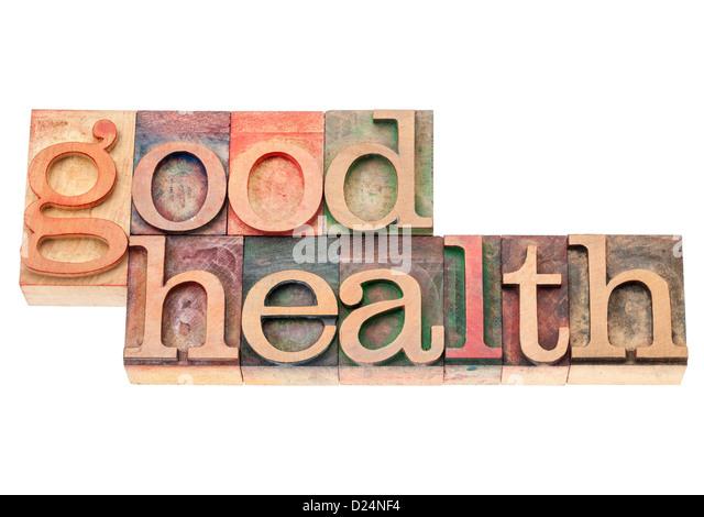 Gesundheit - Wellness-Konzept - isoliert-Text in Vintage Buchdruck Holzart Druckstöcke Stockbild