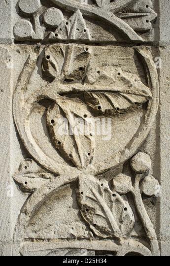 Komplizierten Details auf Mauerwerk am St Annes Church of Ireland Kathedrale Northern Ireland Stockbild