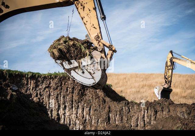 Bagger arbeiten bei Oberfläche Zeche Stockbild
