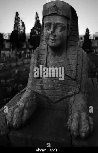 Friedhof, Grabstein der Sphinx Stockbild