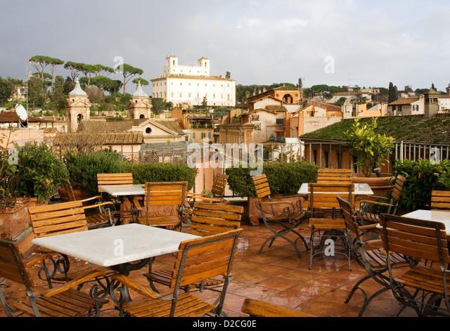 Cafe auf dem Dach, Rom Stockbild