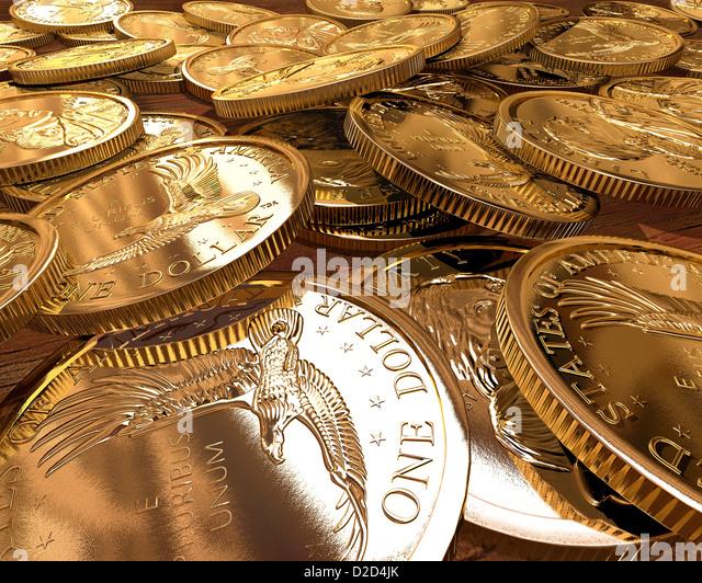 1 Dollar Münzen Computer Grafik Stockbild