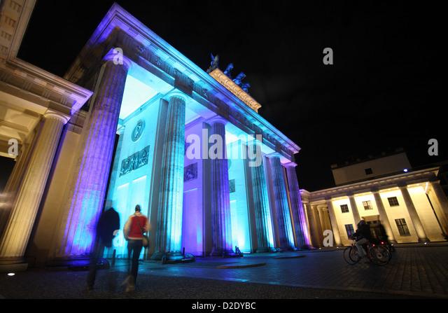 Berlin, Deutschland, das Brandenburger Tor während des Festival of Lights 2009 Stockbild