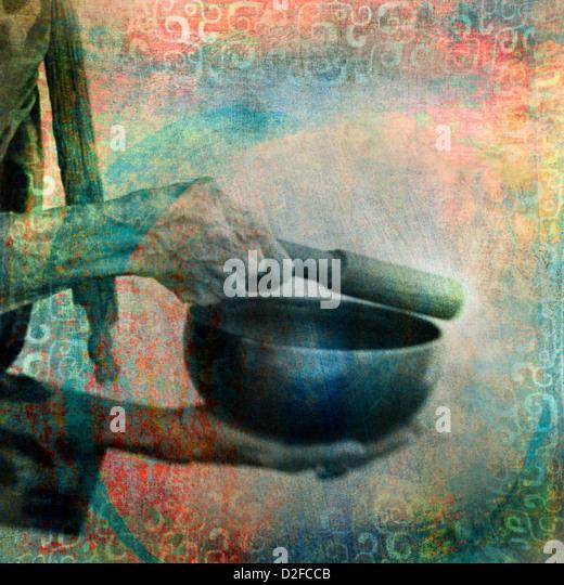 Eine tibetische Schüssel klingeln. Foto basierte Illustration. Stockbild