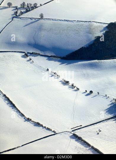 Gefrorenen Schnee bedeckten Großbritannien, winter 2013, West Shropshire, UK Stockbild