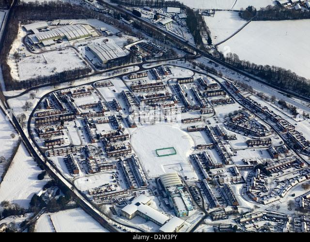 Großbritannien, Januar 2013, Rosymedre-Nord-Wales, aus der Luft eingefroren. Stockbild