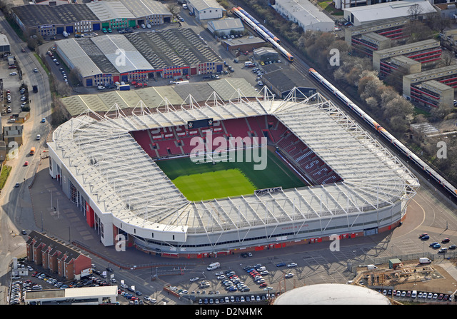 Luftaufnahme von Southampton Fußball-Stadion Stockbild