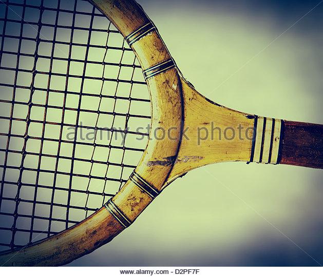 Retro-hölzernen Tennisschläger Stockbild
