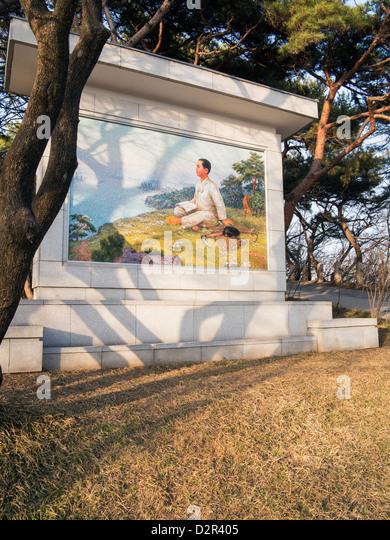 Bild von Sung als ein Junge, Mangyondae revolutionäre Website, der Geburtsort des Präsidenten Kim Il Sung, Stockbild
