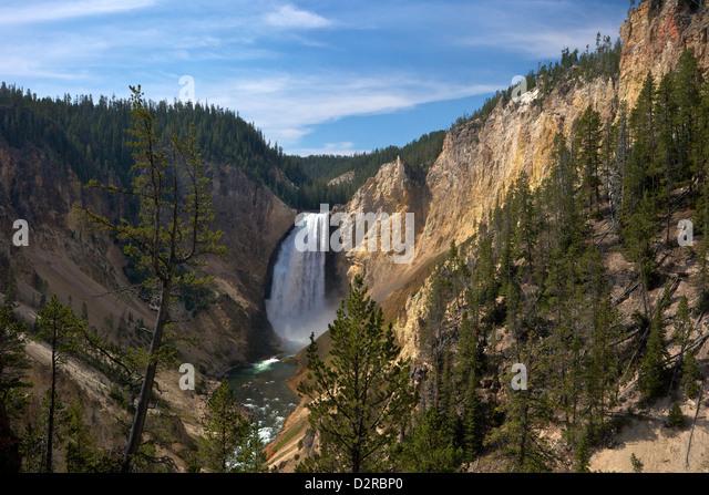 Blick auf Lower Falls von Red Rock Point, Grand Canyon of the Yellowstone River, Yellowstone-Nationalpark, Wyoming, Stockbild