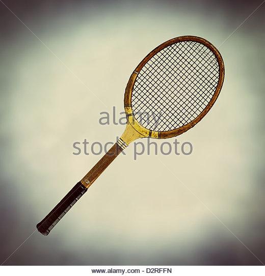 alten altmodischen hölzernen Tennisschläger Stockbild