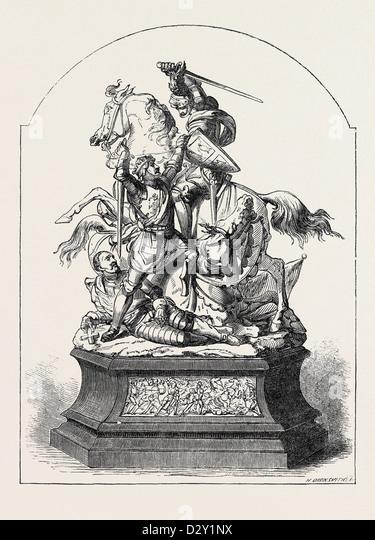 DONCASTER RACE PLATE, 1852, KONFLIKT BEI FLODDEN FIELD Stockbild