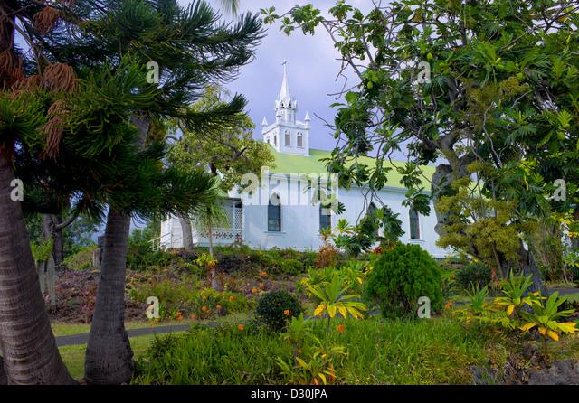 Die bemalten katholische Kirche. Big Island, Hawaii. Stockbild
