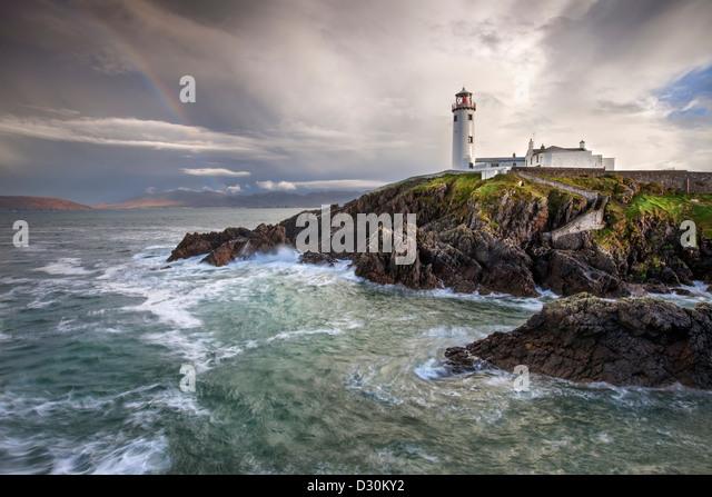 Stürmischer Tag auf Fanad Head Lighthouse in der Grafschaft Donegal. Stockbild