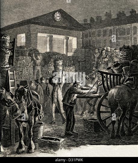 Historische schwarz-weiß Ätzen Abbildung des Covent Garden Market in der Nacht in den frühen 1800er Stockbild