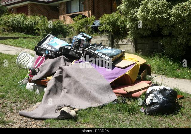 Müll geworfen, für das recycling in Australien Stockbild