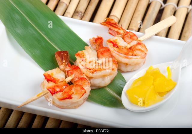 Japanische aufgespießt Seafoods royal Garnelen .closeup Stockbild