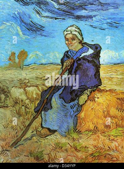 Vincent Van Gogh, der Schäferin (nach Millet). 1889. Post-Impressionismus. Öl auf Leinwand. Tel Aviv Museum Stockbild