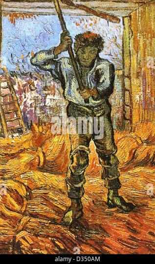 Vincent Van Gogh, der Dreschmaschine (nach Millet). 1889. Post-Impressionismus. Öl auf Leinwand. Van Gogh Museum, Stockbild