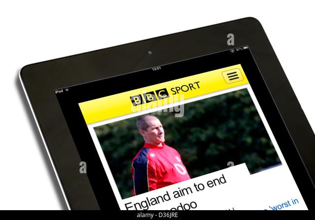 Die BBC Sport mobile app auf eine 4. Generation des Apple iPad Stockbild