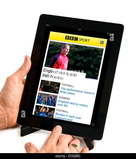 Die BBC Sport mobile app auf eine 4. Generation Apple iPad, UK Stockbild