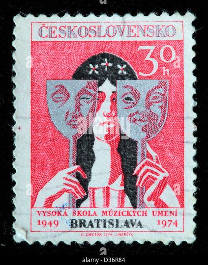 Schauspielerin mit Tragödie und Komödie Masken, Briefmarke, Tschechoslowakei, 1974 Stockbild