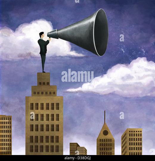 Anschaulichen Bild der Geschäftsmann auf Gebäude hält Mega Telefon Führung vertreten Stockbild