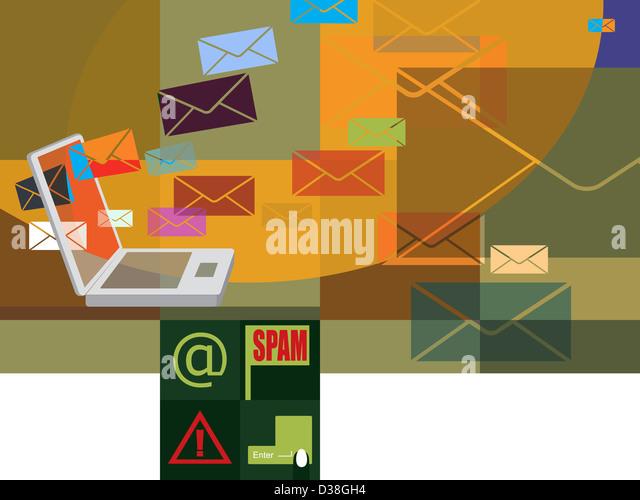 Spam-mails auf einem Laptop heruntergeladen werden Stockbild