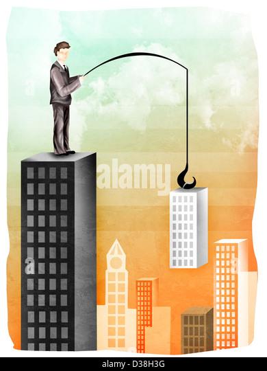 Geschäftsmann, Kauf eines Unternehmens Stockbild