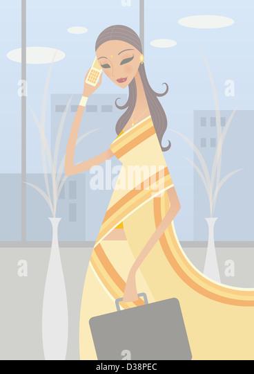 Geschäftsfrau, telefonieren mit einem Handy Stockbild