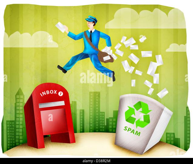 Briefträger Zustellung nach dem Filtern von Spam-mails Stockbild