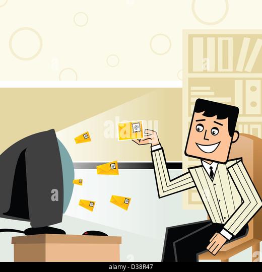 Geschäftsmann, empfangen von e-mails Stockbild